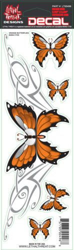 """NEW LETHAL THREAT ORANGE BUTTERFLY DECAL STICKER 3/""""x10/"""" LT00496"""