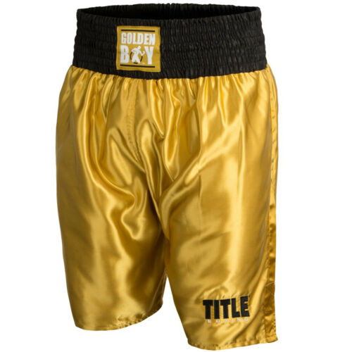 Title Boxing Golden Boy Pro Style Lightweight Boxing Trunks Gold//Black