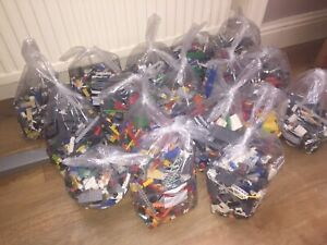 1kg-Lego-amp-5-Minifigs-Bricks-parts-Job-lot-Great-condition-Starter-Kit-Christmas