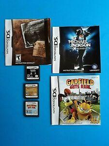 Lot Of 3 Nintendo Ds Games Michael Jackson Garfield Gets Real Indiana Jones Ebay