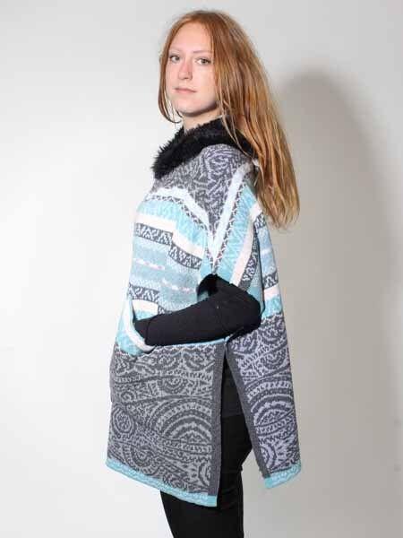 -45% Poncho Cape Tricote Taille 36/38 40/42 Tricot Veste De Leur Laine Gris Comme Neuf