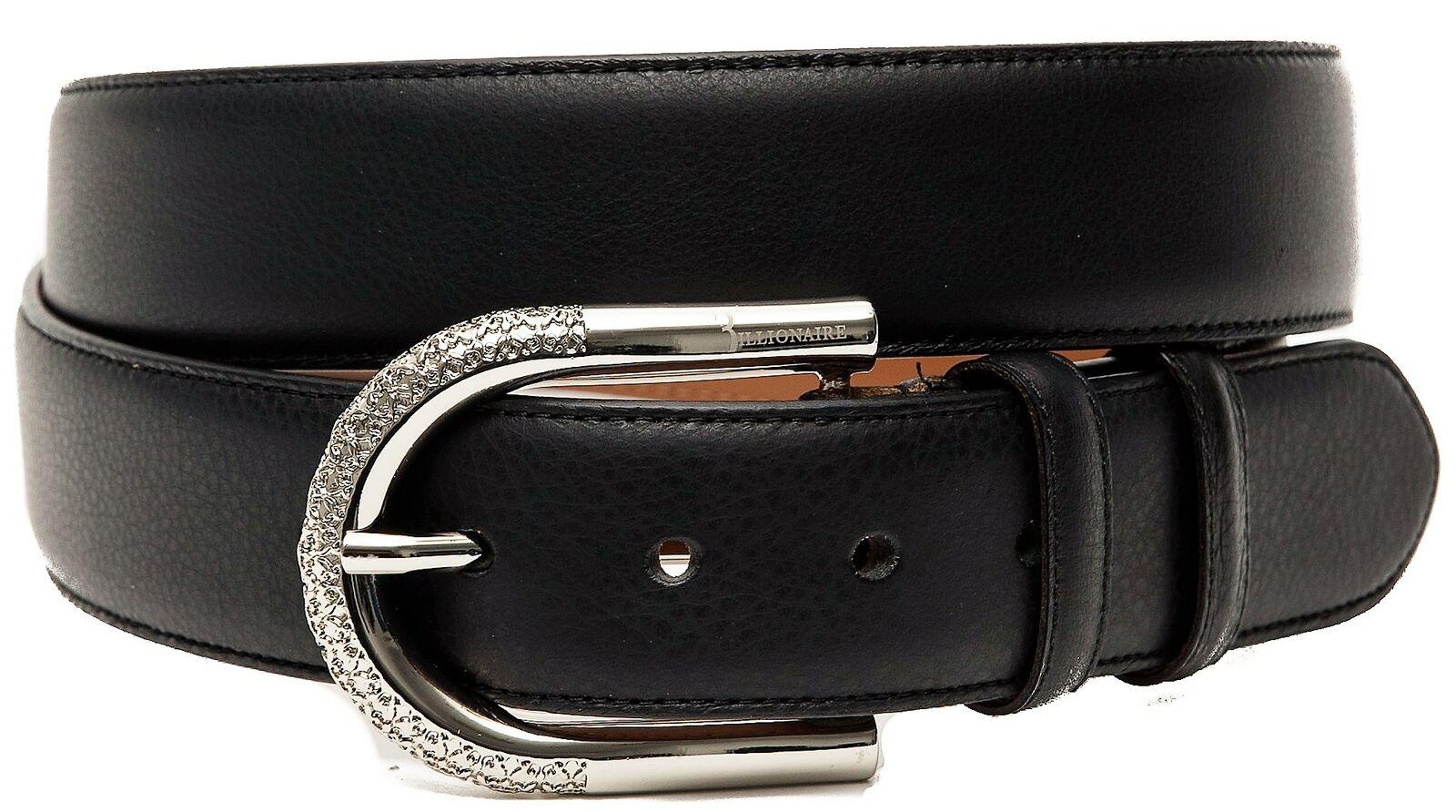 Damengürtel Leder Schwarz BILLIONAIRE Gürtel Frau Black Leather BLC71006039
