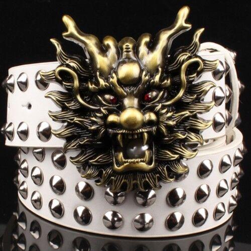 Da Uomo Donne PU Pelle Borchie Rivetto Spike Cintura Drago Fibbia Di Grandi Dimensioni goth metal rock
