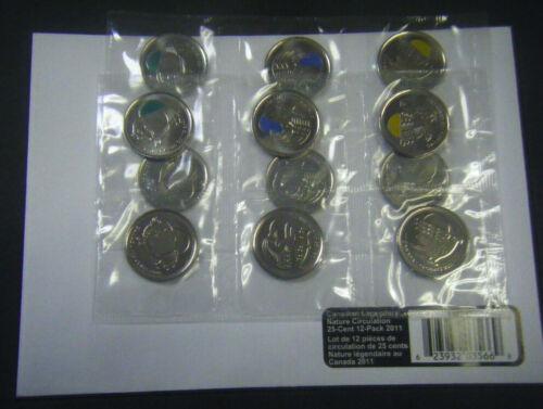 2011 Canada Legendary Nature Bison Orca Falcon 25-Cent Quarter 12-Pack coin 25c