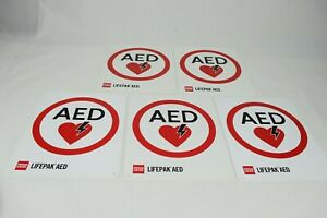 PHYSIO-CONTROL-Lifepak-AED-Flat-Sign-Lot-of-5
