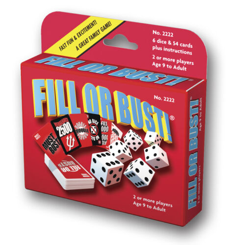 Fill Or Bust Dice Card Game Bowman Games 2222 Family Party Fast Press Your Luck