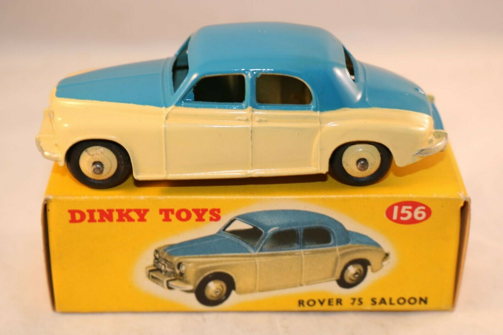Dinky Toys 156 Rover 75 saloon 2 tone blueee and cream very near mint in box
