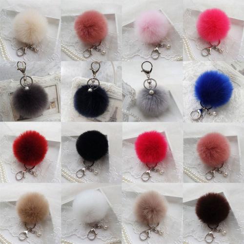 Rabbit Fur Pom-pom Key Chain Charm Fluffy Puff Ball Bow Key Ring Car Pendant 9cm
