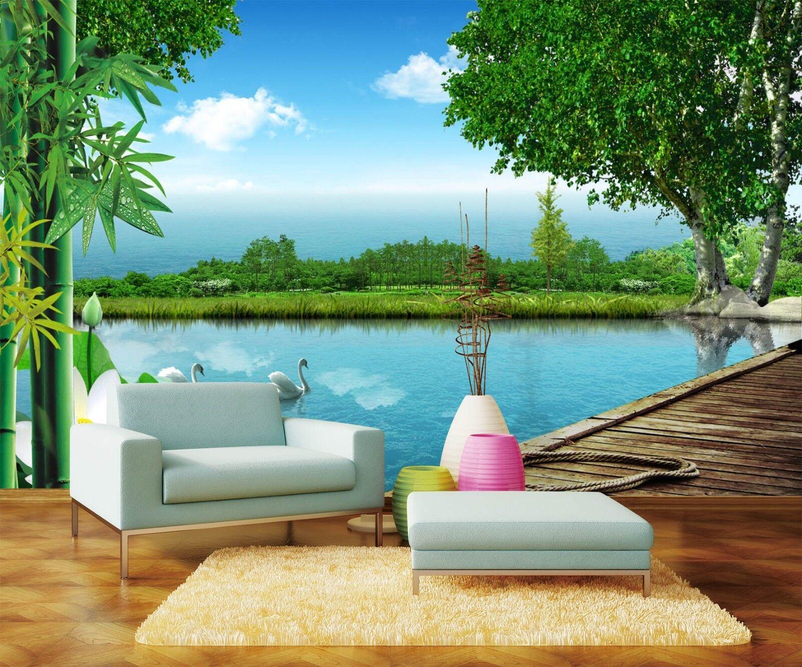 3D Natürlicher Fluss Himmel 808 Tapete Wandgemälde Tapeten Bild Familie DE Lemon