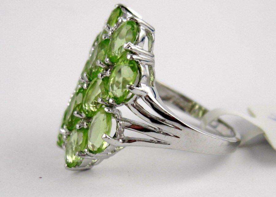 N37 Peridot Olivin anello ovale vetro smerigliato 12 pietre preziose preziose preziose 5 52 CT 925 argentoO f00d5d