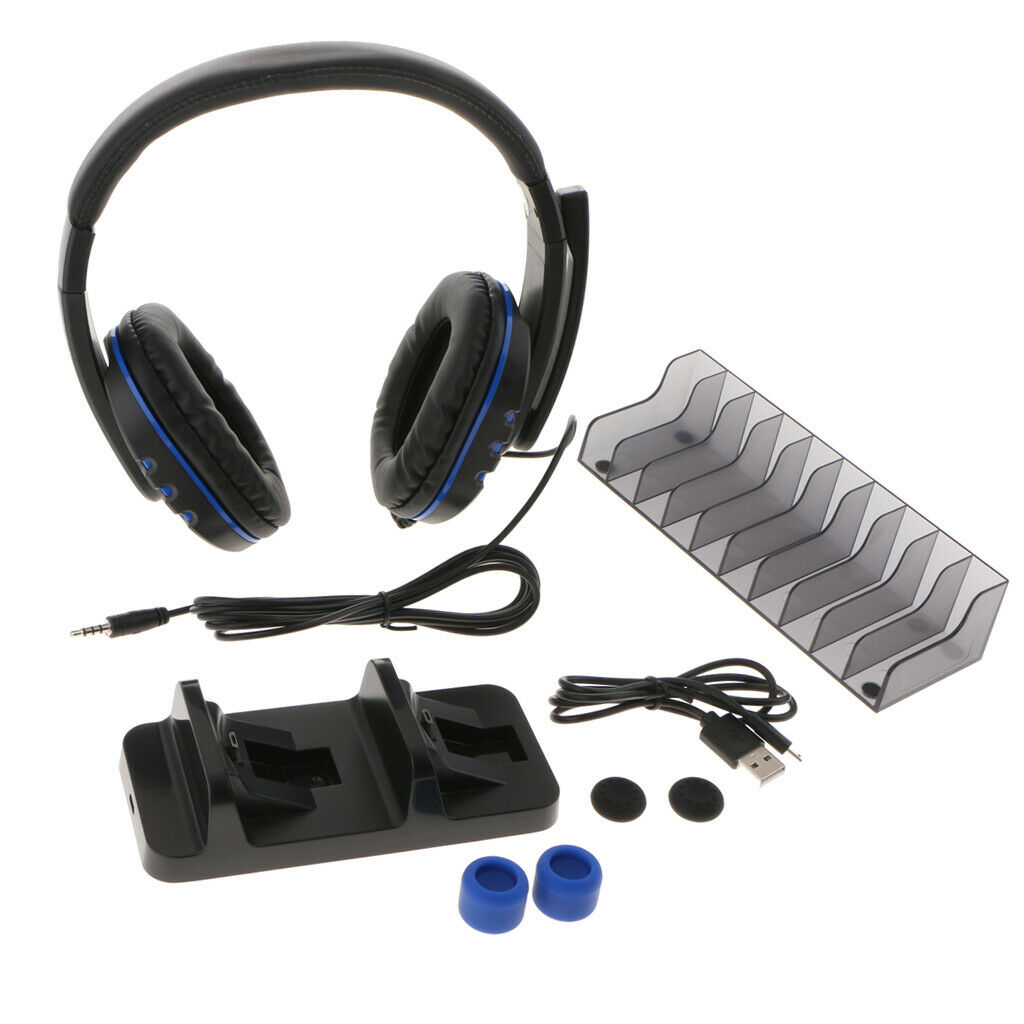 5 In 1 Game Pack, Dual Charger Dock And Thumbstick Cover For PS4/Pro/Slim