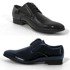 Scarpe-Uomo-Derby-Pelle-Nere-Blu-Eleganti-Classiche-Lucide-Cerimonia-Matrimonio