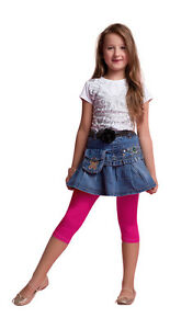 Girls-Cropped-Children-3-4-Cotton-Leggings-Basic-Plain-Kids-Capri-Pants-Age-3-11