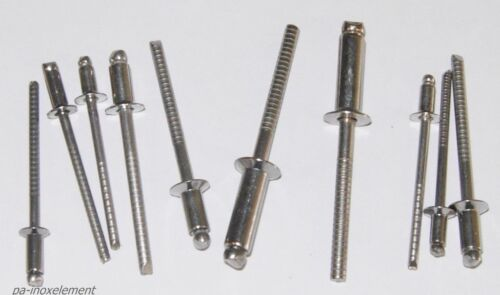 100 Blindnieten Senkkopf  ISO 15984 Edelstahl VA 3mm 3,2mm 4mm 4,8mm 5mm nieten