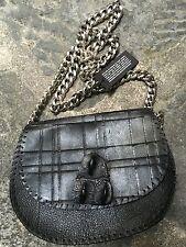 NWT Post &Co Handmade Black Leather Genuine Crocodile Crossover Chain Bag Clutch