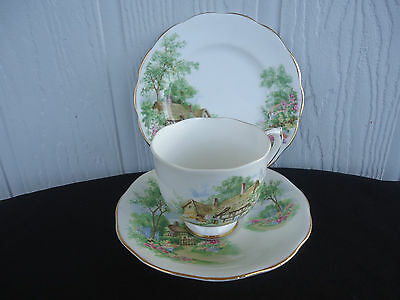 vintage trio queen anne roslyn tea cup & saucer plate set wayside tudor cottage