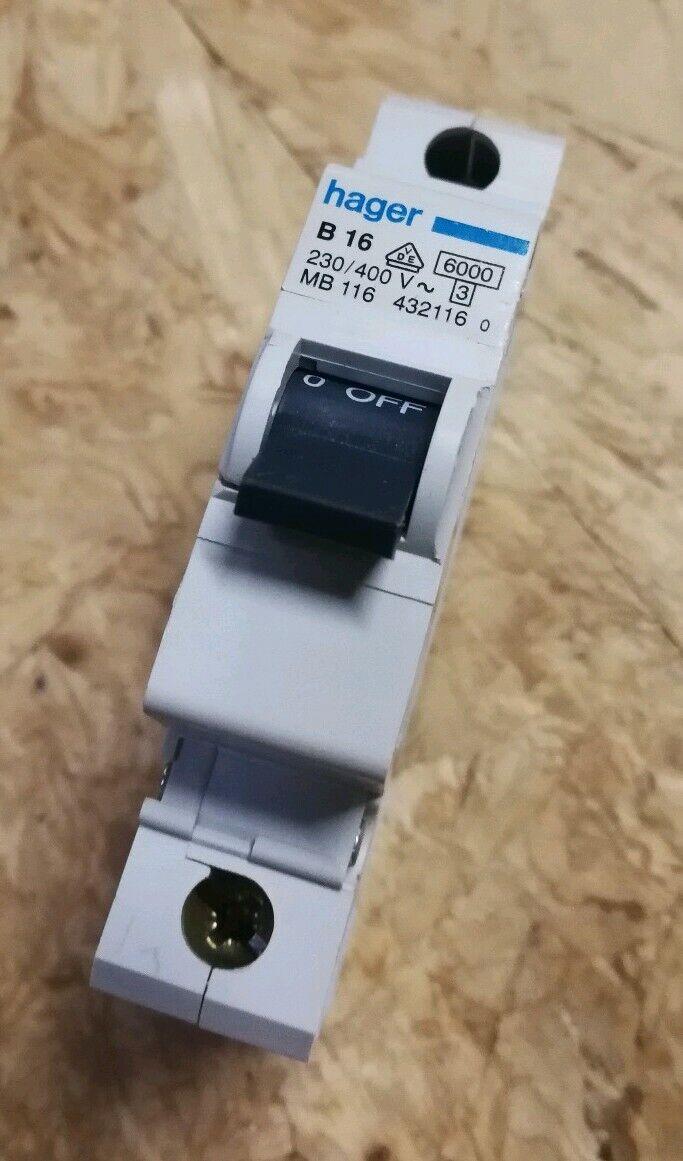 Hager Leitungsschutzschalter 1pol B 16A B 16 MBN116 Sicherung Automat 2 Stück