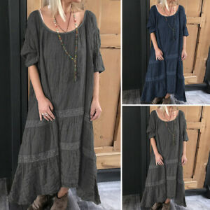 VONDA-Women-Summer-Plus-Size-Short-Sleeve-Ladies-Casual-Vintage-Long-Maxi-Dress