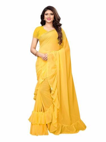 Saree Ruffle Georgette Ethnic Indian Women Party Wear Frill Designer Border Sari