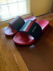 New-TOMMY-HILFIGER-Size-12-Slide-Athletic-Men-s-Sandals-Free-Shipping-RED-BLUE