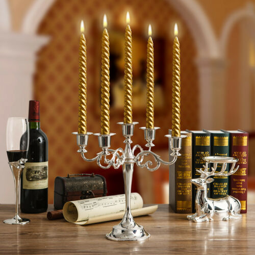 European 5 Arms Candelabra Candle Holder Stand Holiday Xmas Wedding Table Decor