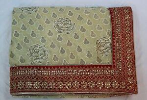 Bollywood-Silk-Georgette-Printed-Beige-Saree-Indian-Ethnic-Sari-Party-Wear-Dress