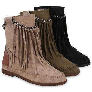 Damen-Stiefeletten-Mokassin-Boots-Wildleder-Optik-Stiefel-Fransen-824724-Schuhe