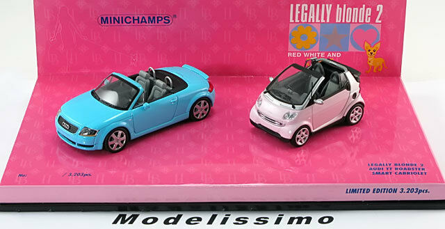 1:43 Minichamps Audi TT Roadster and Smart Convertible Legally Blonde