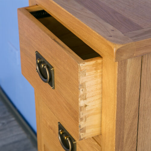 Brand New Solid Wood Tall Narrow Chest Surrey Oak Tallboy Chest of Drawers