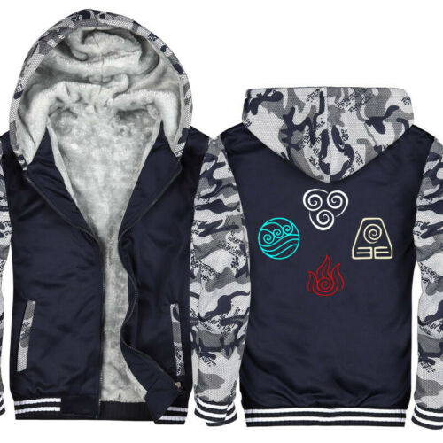 The Last Airbender Hoodies Men Sweatshirt Winter Thick Fleece Jackets Avatar