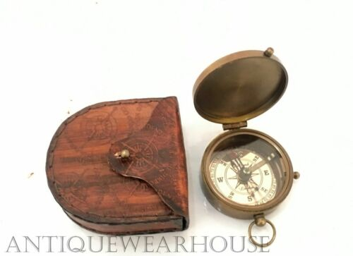 Pocket Compass With Case Handmade Solid Brass Navigation Compass Dollond London