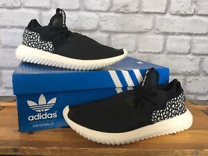 Adidas-Femmes-UK-5-1-2-Eu-38-2-3-Noir-tubulaire-craquele-Cuir-Baskets-RRP-90