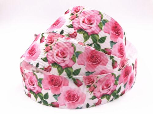 "1-10 Yd 1/"" 25 mm Roses Ruban Imprimé Grosgrain Hair Bow Sewing Crafts ruban"