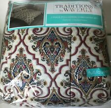 Traditions by Waverly Maldives Porcelain 3 Pc Queen Quilt Set blue yellow #38818