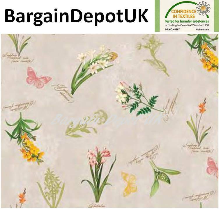 Flowers Butterflies PVC Wipe Clean Vinyl Tablecloth  ALL SIZES  Code  F175-1