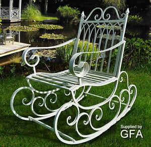 metal steel garden rocking chair in antique aged white indoor