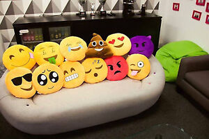 NEW EMOJI  Emoticon Yellow Round Cushion Stuffed Pillow Plush Soft Toys Decor UK