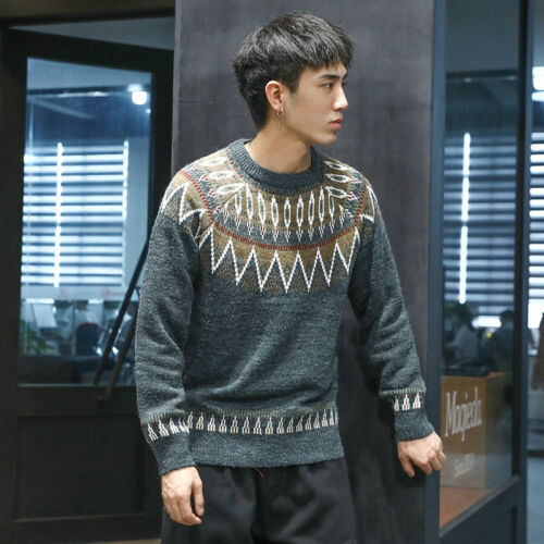 Mens Long Sleeve Round Collar Mixed Colors Slim Fit Retro Knitted Sweater C447
