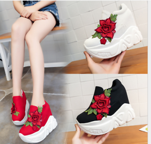 Women-Chunky-High-Platform-Wedge-Shoes-Floral-Casual-Sneakers-Creepers-High-Heel