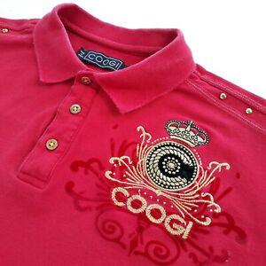 COOGI-Australia-Herren-Groesse-XL-kurzarm-rot-Vintage-Polo-Golf-bestickt-selten