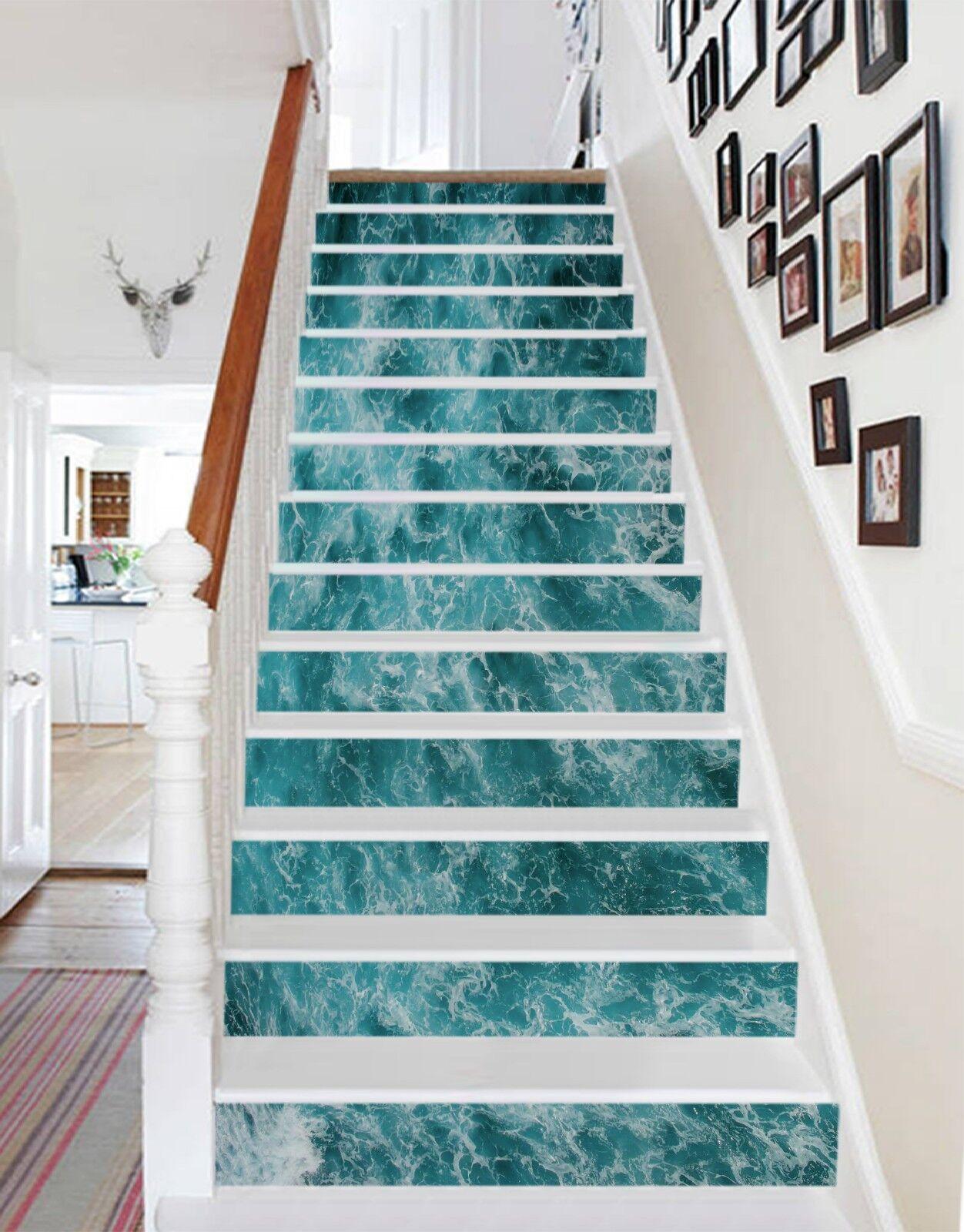 3D Meer Wellenlicht Stair Risers Dekoration Fototapete Vinyl Aufkleber Tapete DE