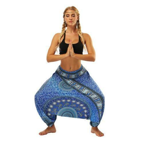 Damen Pluderhosen Hight Taille weites Bein Baggy böhmischen indischen Yogahose