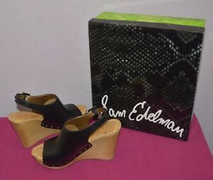 41713b72d9723 Sam Edelman Women Camilla Black Wooden Wedge Sandal Shoes Platform ...