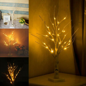 White Easter Tree Pre Lit Led Twig Tree Light Up Decorations For