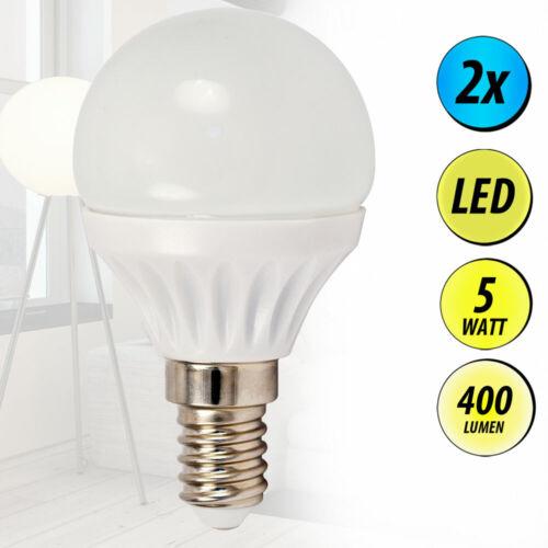 2x LED E14 Kugel Leuchtmittel 5 Watt Lampen 400 Lumen Beleuchtung 3000 Kelvin