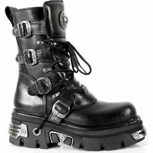 New-Rock-373-S4-Metallic-Boots-Black-Leather-Gothic-Biker-Emo-Fashion-All-Size