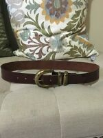 Genuine Leather Brown Belt with Brass Buckle, Size M, Super Cute!