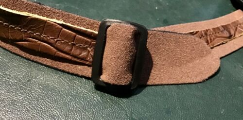 Genuine buffalo crocodile print  Leather HAT BAND Adjustable Slide Buckle