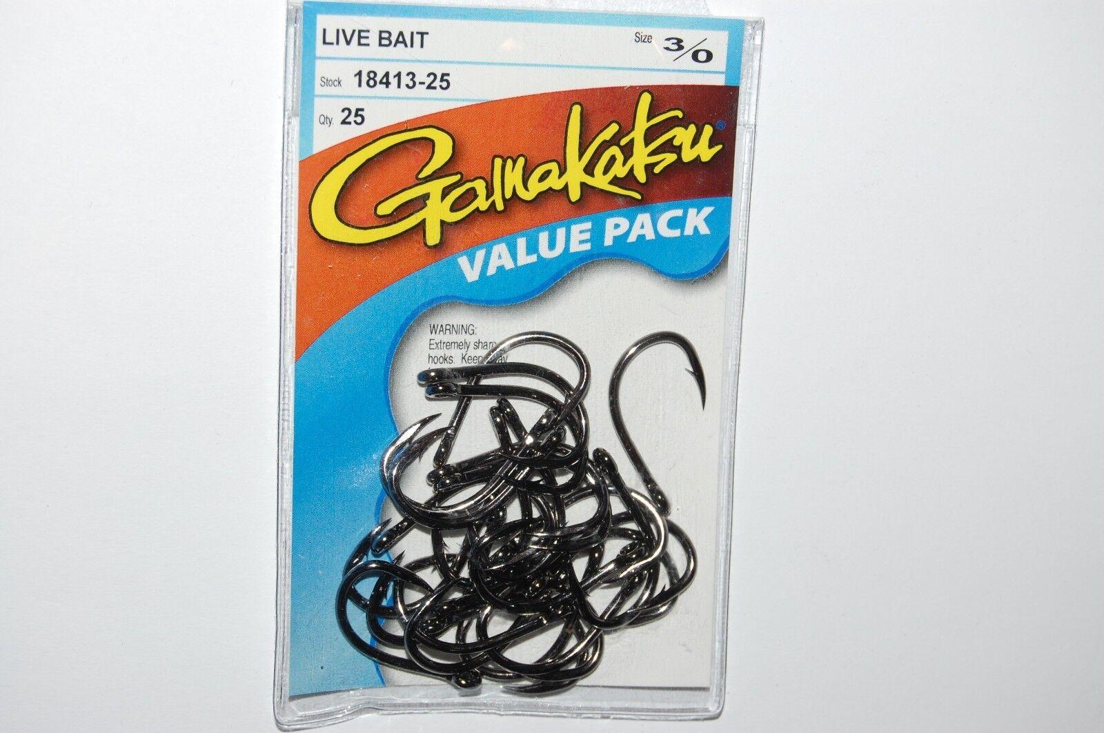 Gamakatsu 18412 Size 2//0 Live Bait Fishing Hooks  Qty 5