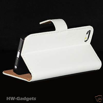 Genuine Real Leather Flip Wallet Slim Case Cover for The New iPhone 5s 5 & 4 4s
